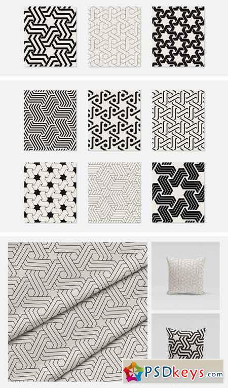Monochrome Seamless Patterns Set 2370773