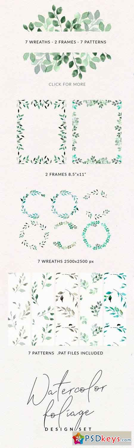 Watercolor Foliage Design Set 2350345