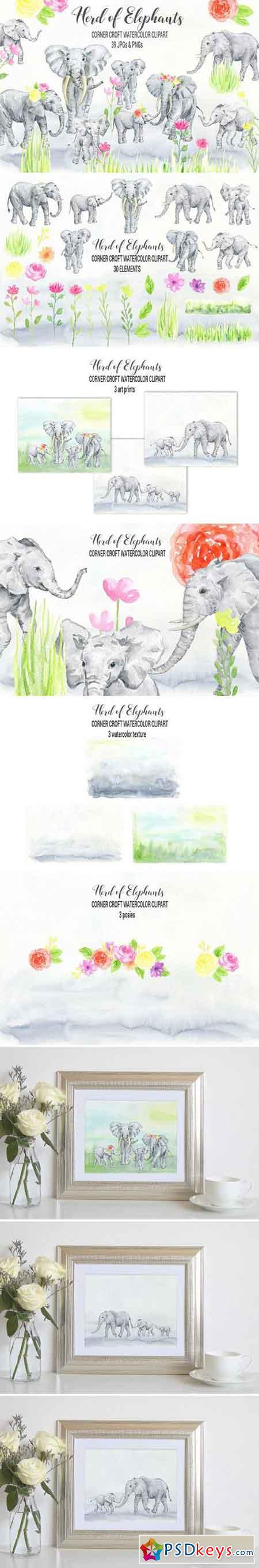 Watercolor Elephant Clipart 2380009
