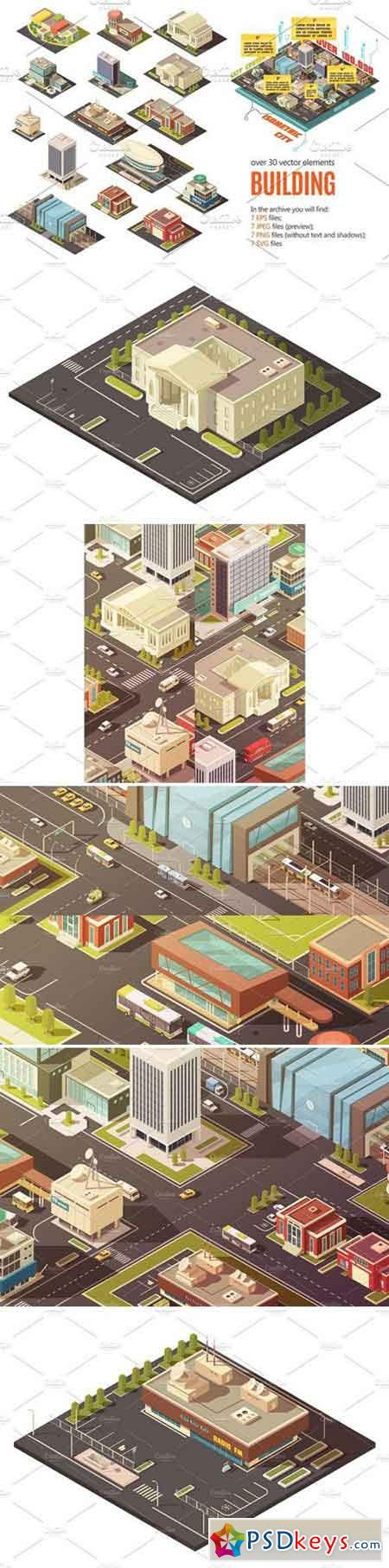 City Buildings Isometric Set 2379443