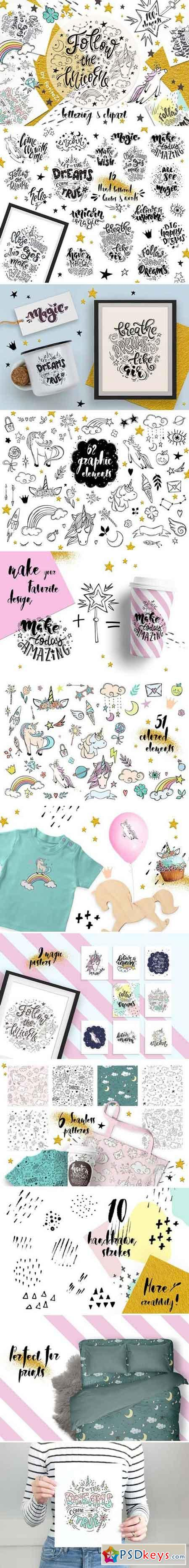 Follow the unicorn clipart&letters 2379484