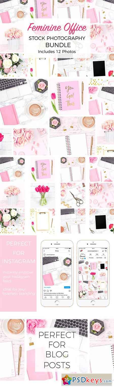 Feminine Desk Stock Photo Bundle 2336821