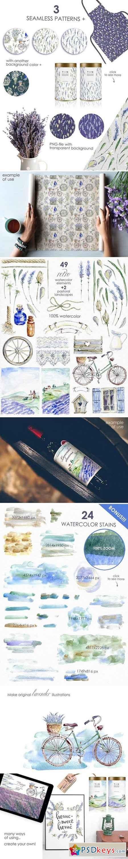 Lavender WATERCOLOR clipart set 2358299