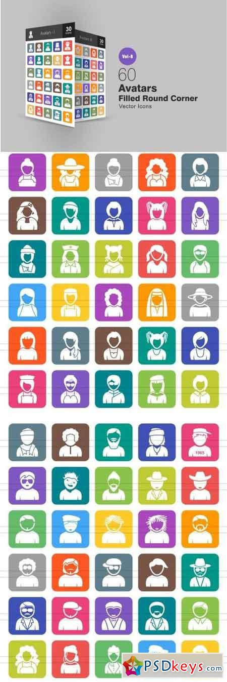 60 Avatars Filled Round Corner Icons