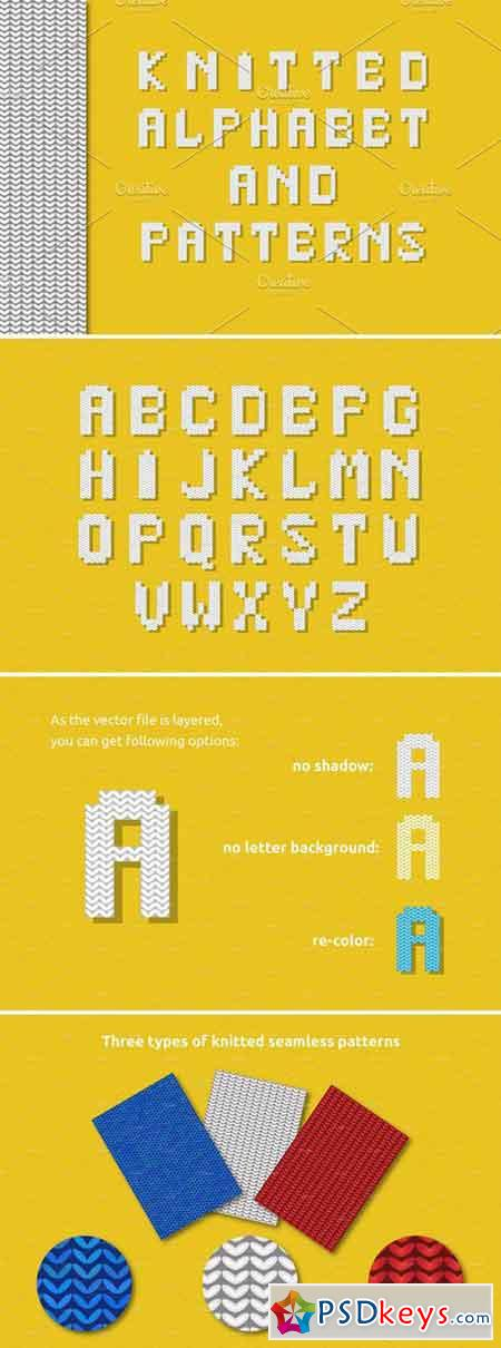 Knitted Alphabet And Patterns 1598021 Free Download Photoshop