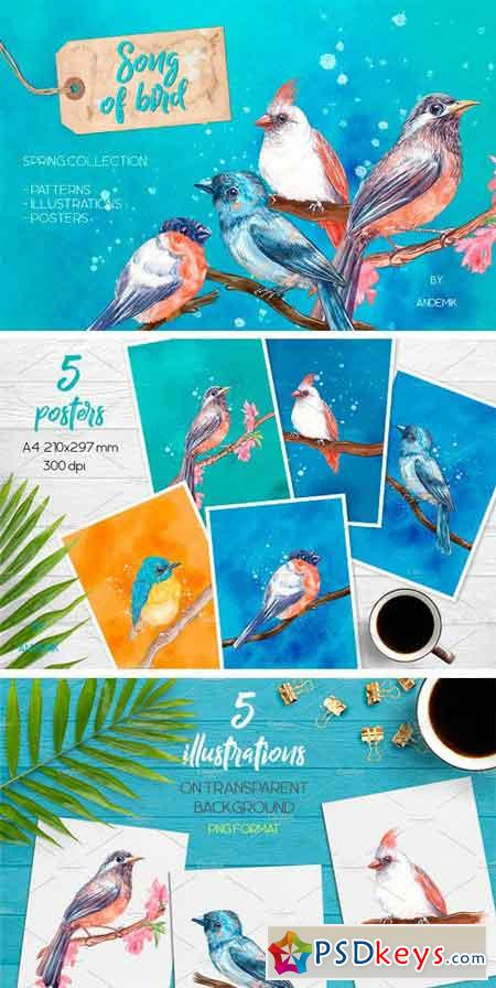 Song of Bird Watercolor Clipart 2337729