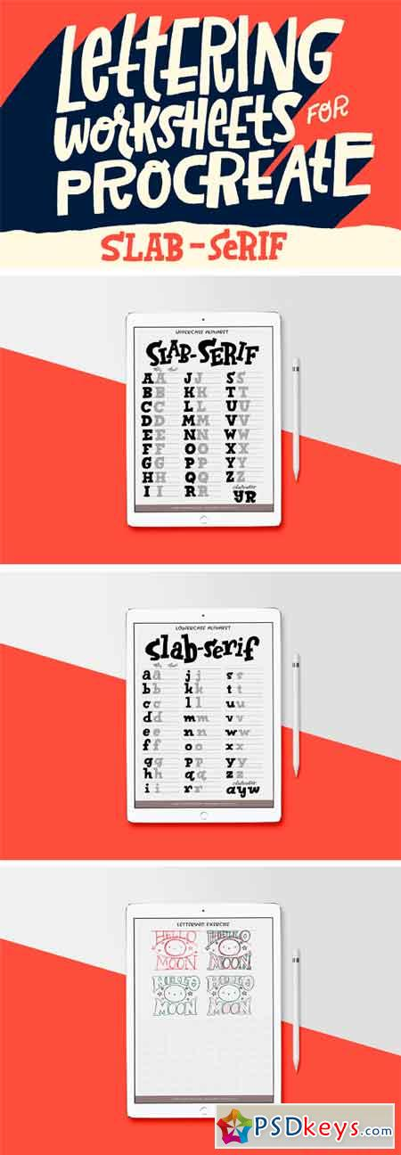 Slab-Serif Lettering Worksheet 2381937