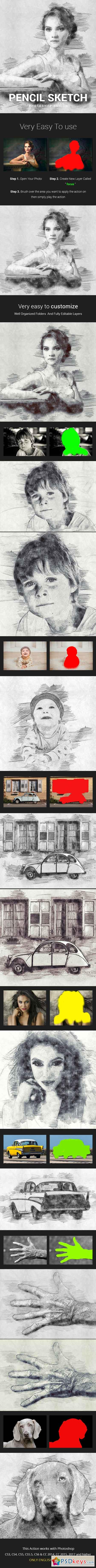 Pencil Sketch Photoshop Action Photo Effects 21683660