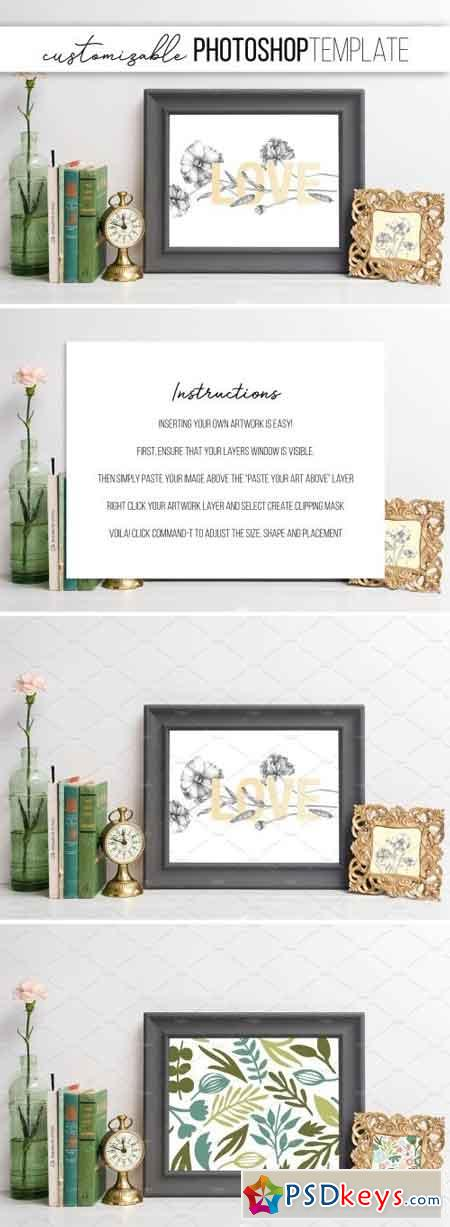 Grey Picture Frame Mockup with Green 2431617