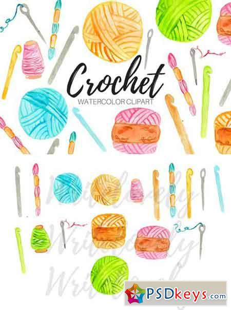 Watercolor Crochet Clipart 2405003