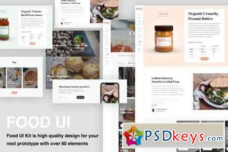 Food & Recipe UI kit with over 80 elements