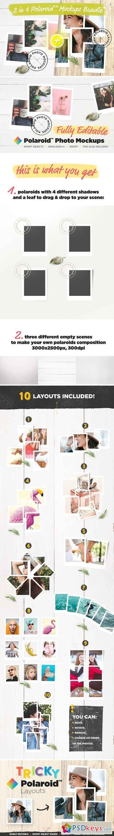 2 in 1 Polaroid™ Mockups Bundle 1578428