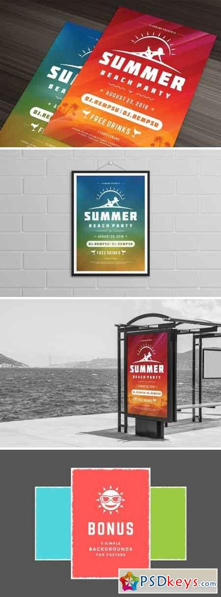 Summer beach party flyer template 1452408