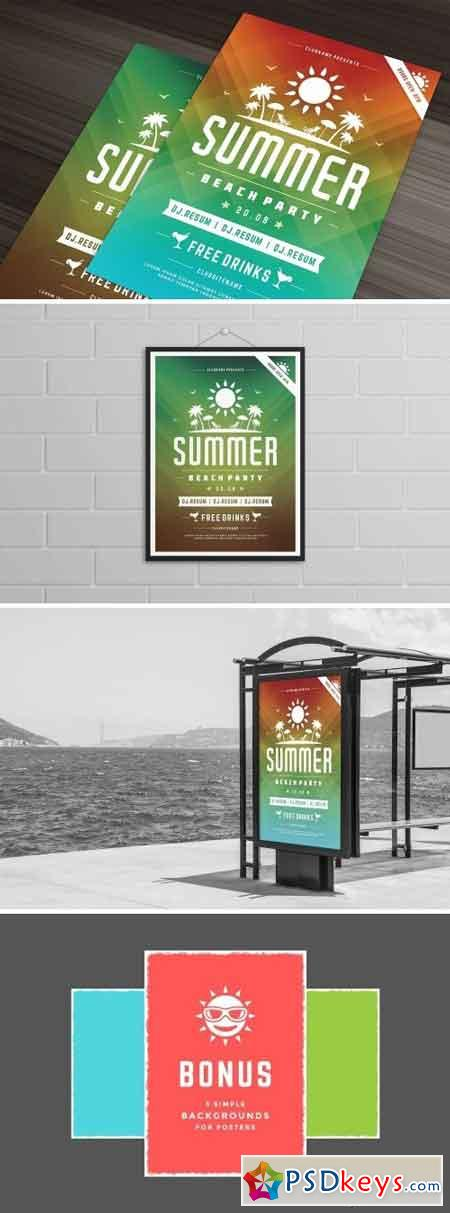 Summer beach party flyer template 1452407