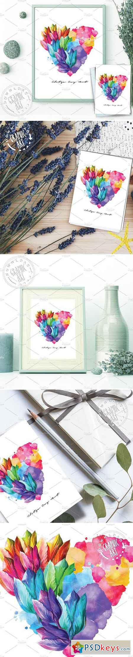 Prints Poster, Card -Flower Heart 2403151