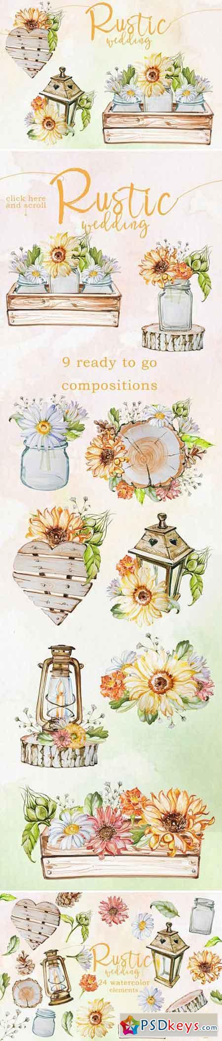 Watercolor Rustic Wedding Clipart 2403057