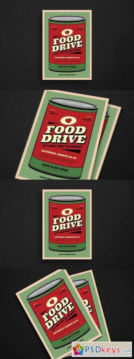 Retro Food Drive Event Flyer
