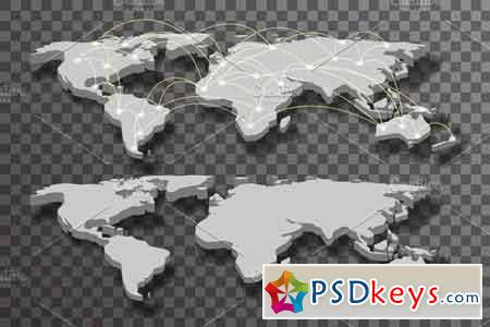 3D World Map Shadow Light Connection 2303243