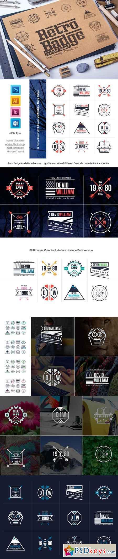 Retro Badge Logo Collection Bundle 2132814