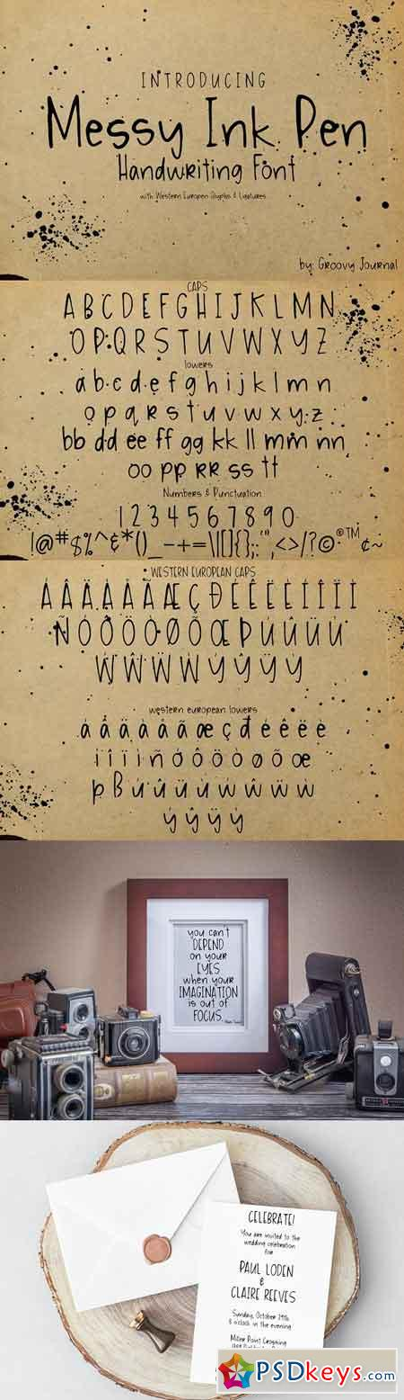Messy Ink Pen Handwriting Font 2134239