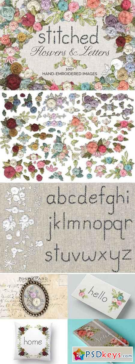 Stitched Flower & Letter Graphics 1566989