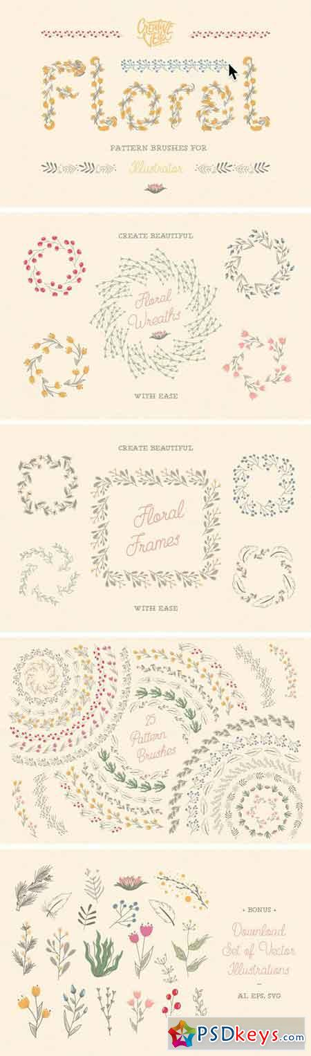 Floral Pattern Brushes For Ai 2447243