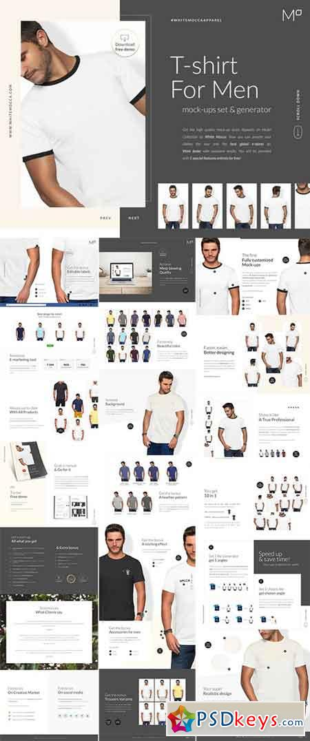 Men T-shirt Mockups Set 2403328