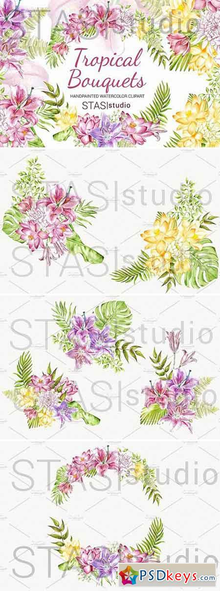 Watercolor Tropical Flowers Wreath 1565587