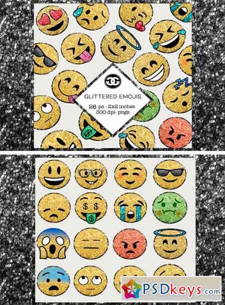 Glitter Emoji Clip Arts PNG Set 2422791