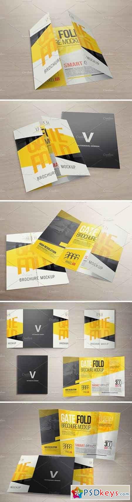 X  Gate Fold Brochure Mockups   Free Download Photoshop