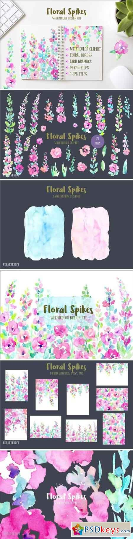 Watercolor Design Kit Floral Spikes 1602688