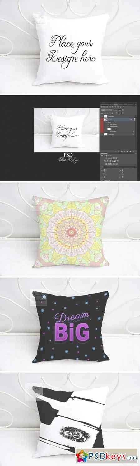 White square pillow mockup psd smart 2144376