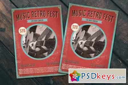 Music Retro Fest Flyer Poster