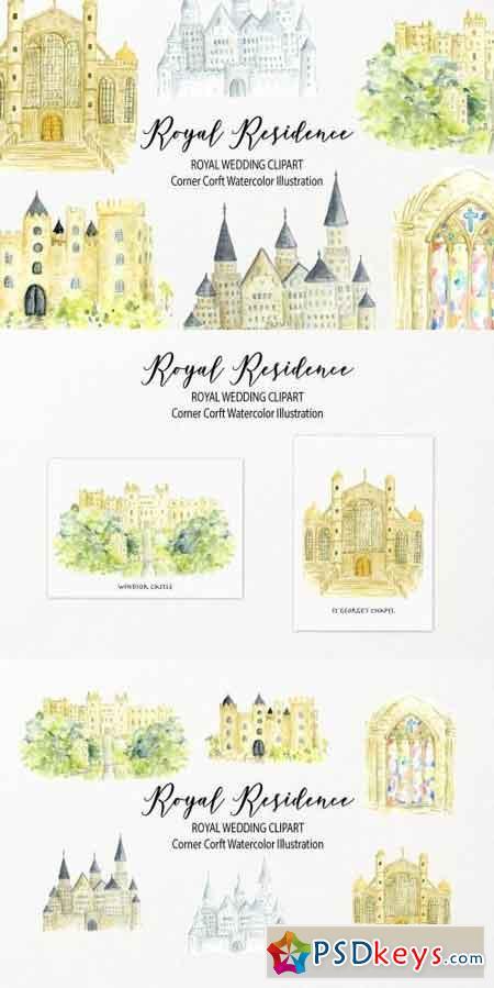 Watercolor Royal Residence Illustration