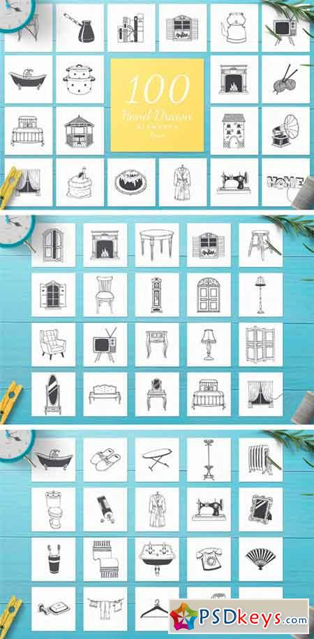 100 Hand Drawn Elements -Home- 2423072
