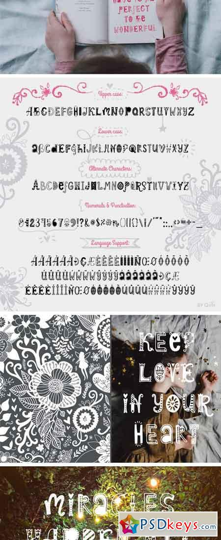 Spring Dreams Typeface with Clipart 54834