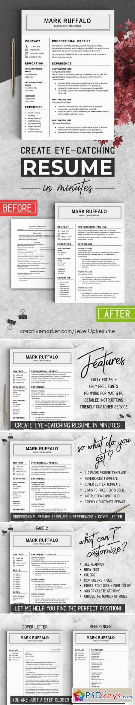 Minimalist Resume Template Cv   Free Download Photoshop