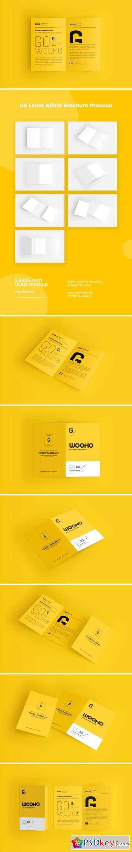 US Letter Bifold Brochure Mockup 2499770