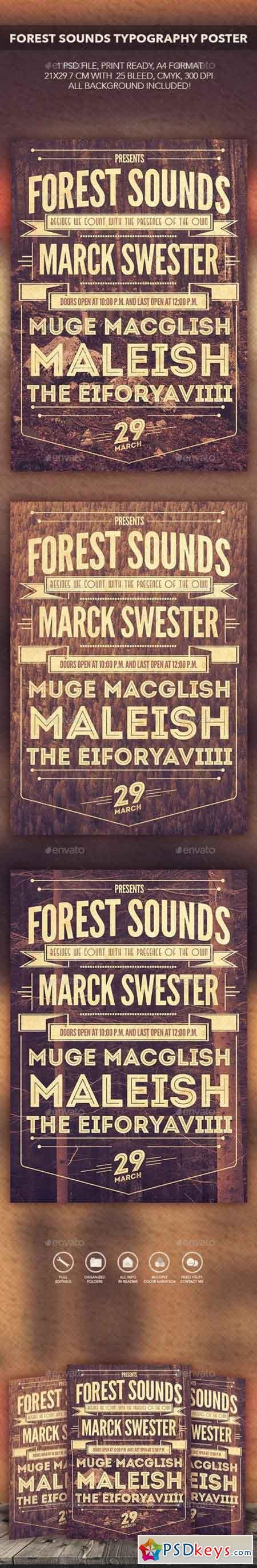 Forest Sounds Typography Flyer Poster 10423713