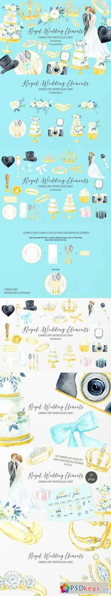 Watercolor royal wedding elements