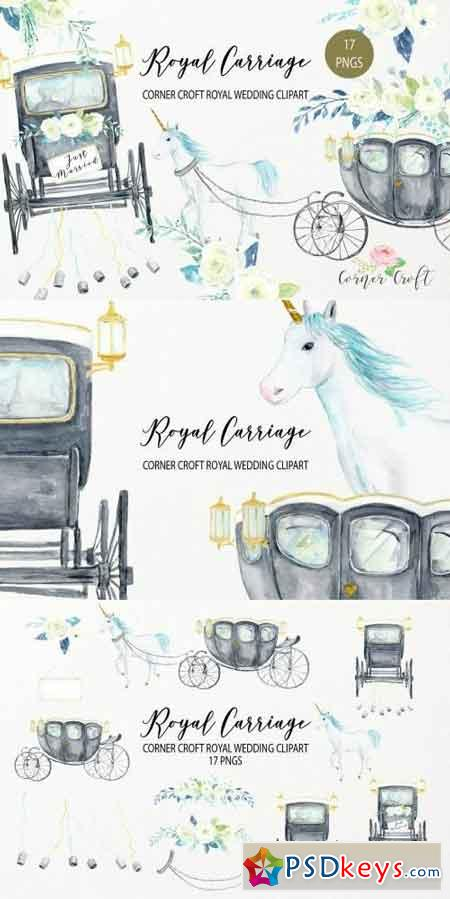 Watercolor Royal Wedding Carriage Clipart