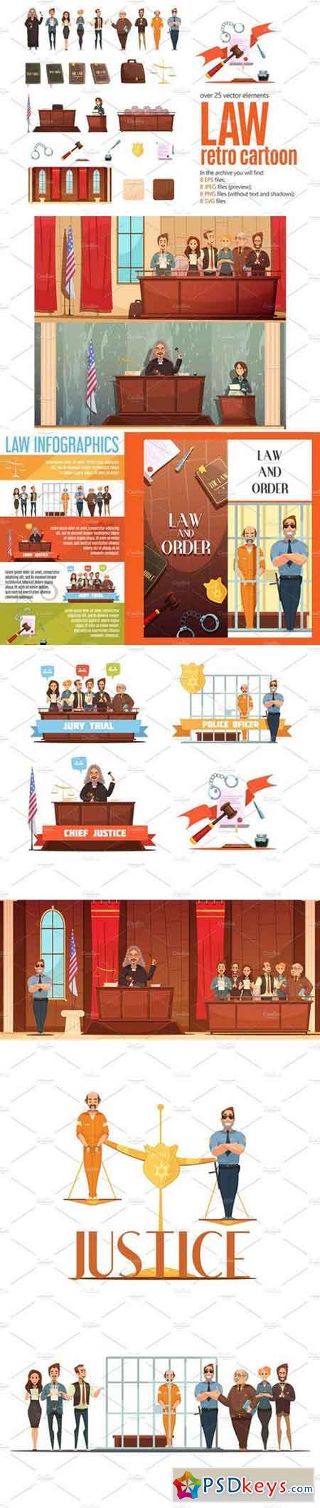 Law Retro Cartoon Set 2430841
