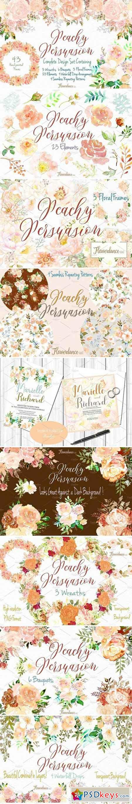 Peach Watercolor Floral Clipart 2430861