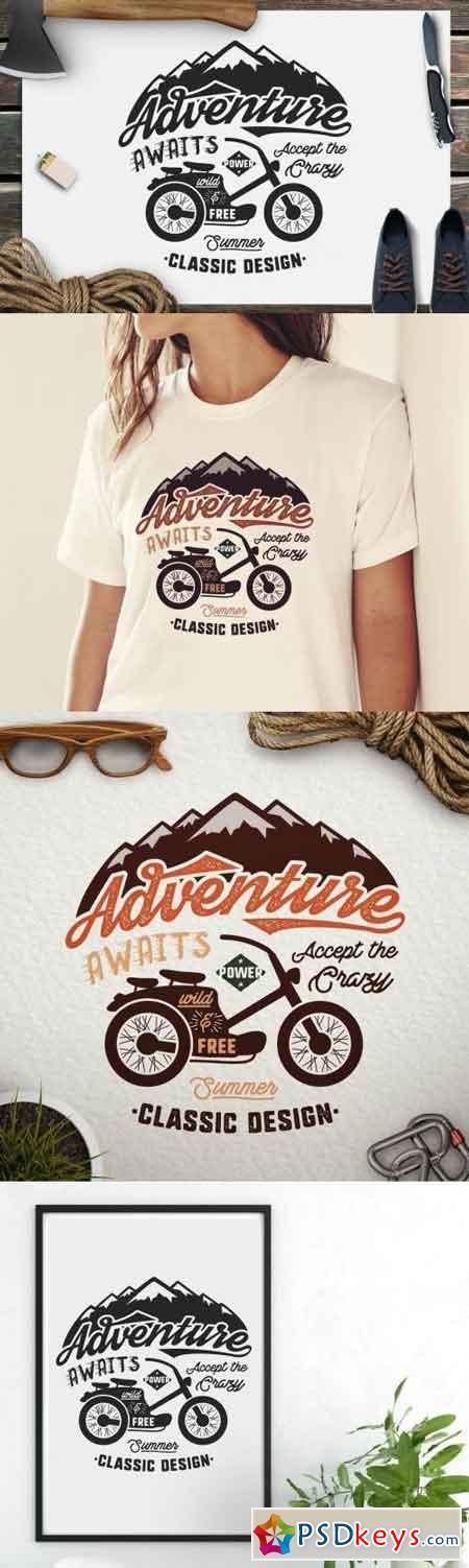 Adventure Awaits Logo Camping Retro Badge