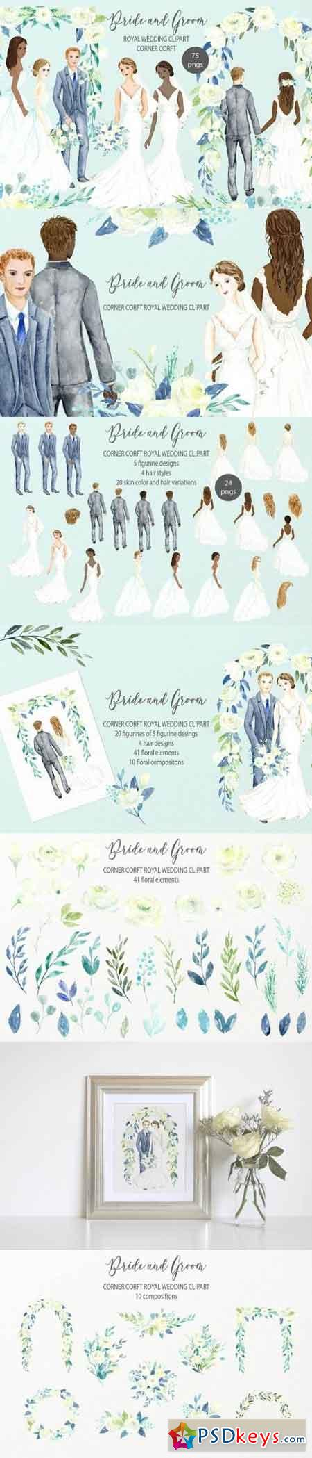Bride and Groom Royal Wedding Clipart