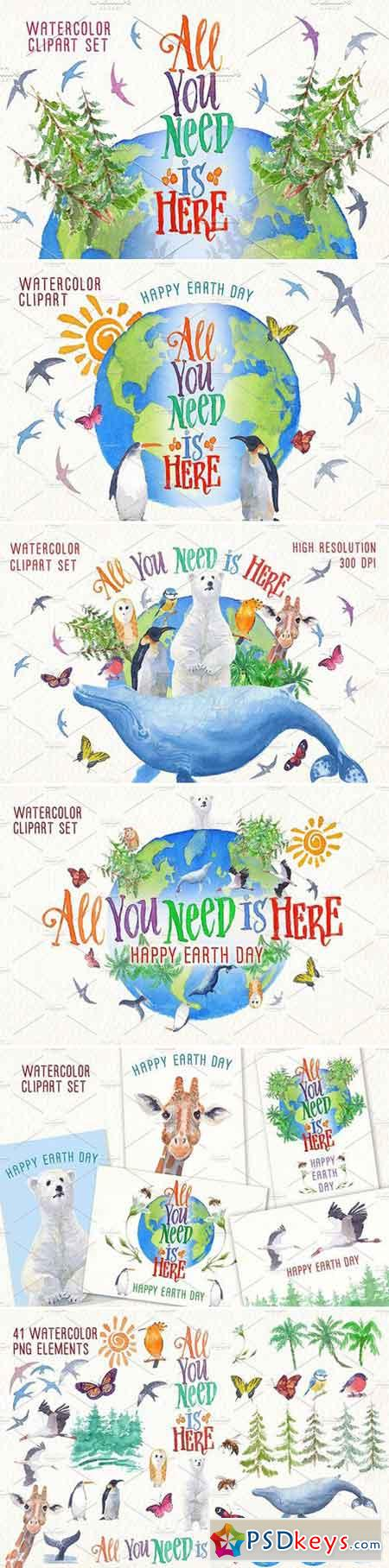earth day watercolor clip art set 2430364
