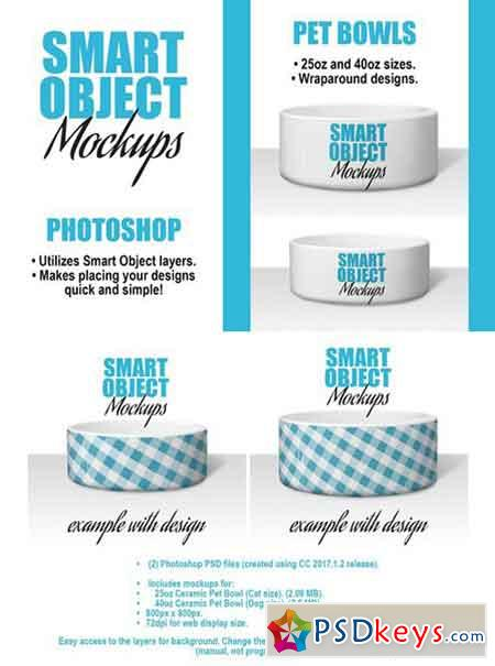 Ceramic Pet Bowl Mockups - 2 PSDs 2430315