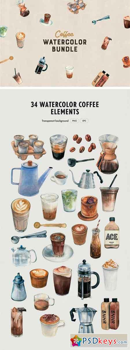 Watercolor Coffee Bundle 2405258