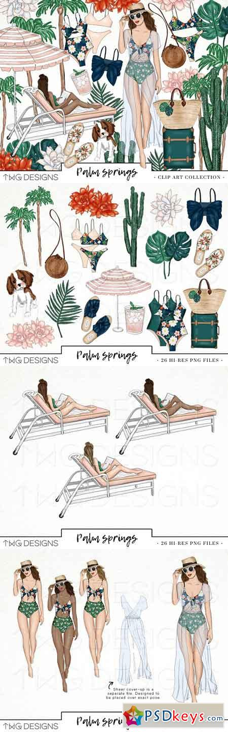 Palm Springs Vacay Fashion Clip Art 2443229