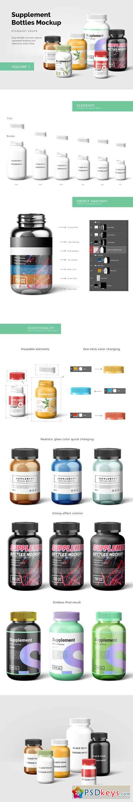 Supplement Bottles Mockup 2507729